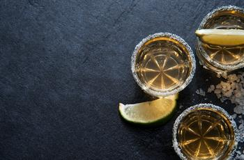 Tequila glass lime salt