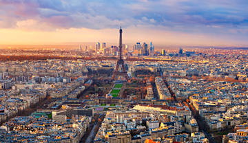 paris cityscape focused on the eiffel tower - france