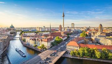 aerial view of river spree in berlin