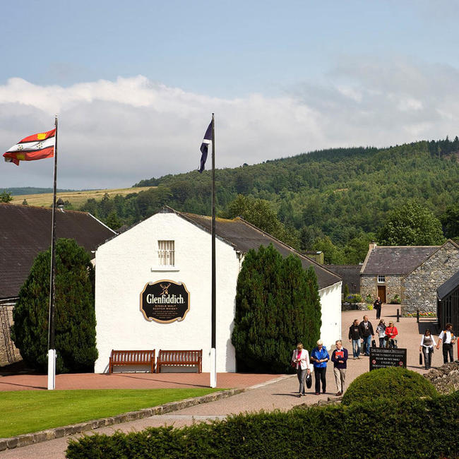 Outside Glenfiddich distillery