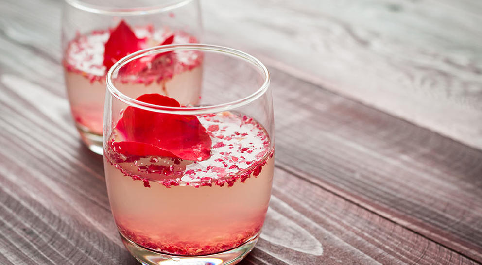 cocktail with rose petals