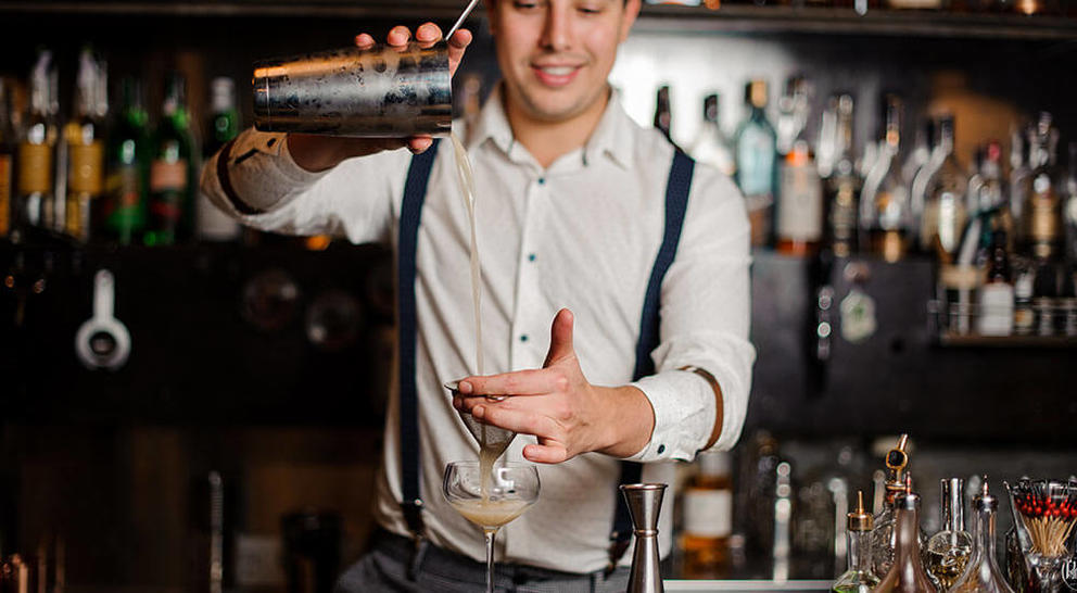 bartender long pouring